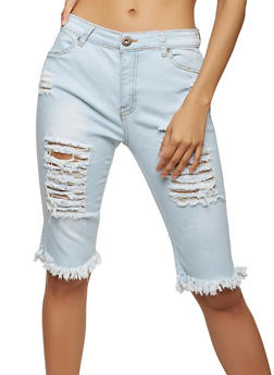 Destroyed Denim Bermuda Shorts - 1072072290272