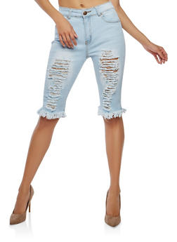 Destroyed Denim Bermuda Shorts - 1072072290287