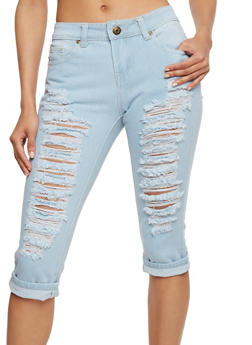 Solid Distressed Denim Capri Pants - 1073063401632