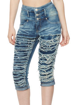 Shredded High Waisted Denim Capri Pants - 1073063403622