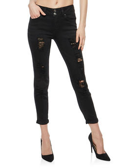 Almost Famous 2 Button Destroyed Skinny Jeans - 1074015990147