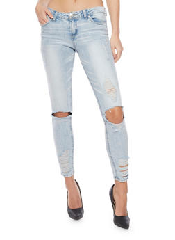 Almost Famous Ripped Cloud Wash Cropped Skinny Jeans - 1074015990151