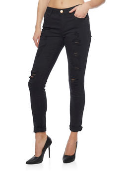 Almost Famous Cropped and Distressed Denim Jeans - 1074015990807