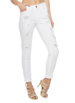 Almost Famous Cropped and Distressed Denim Jeans - WHITE - 1074015990807