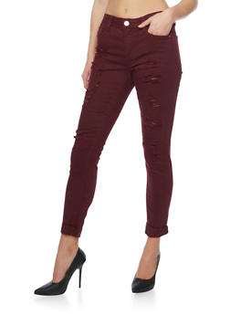 Almost Famous Cropped and Distressed Denim Jeans - BURGUNDY - 1074015990807