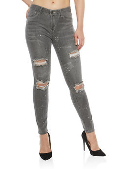 Almost Famous Paint Splatter Skinny Jeans - 1074015991241