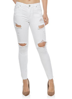 Almost Famous White Destruction Skinny Jeans - 1074015991490