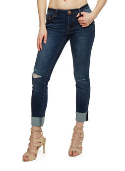 Almost Famous Ripped Knee Skinny Jeans with Rolled Cuffs - 1074015991750