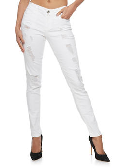 Almost Famous Destroyed White Skinny Jeans - 1074015991807
