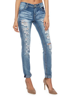 Almost Famous Destroyed Cuffed Denim Skinny Jeans - 1074015994569