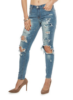 Almost Famous Destroyed Whisker Wash Skinny Jeans - 1074015994650