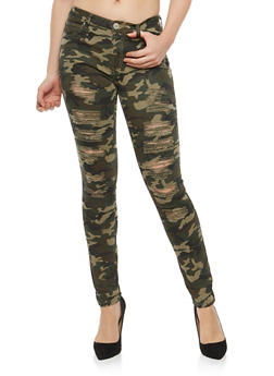 Almost Famous Distressed Camo Skinny Jeans - 1074015995358