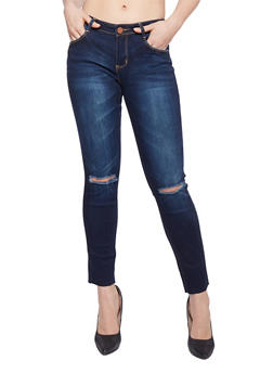 Almost Famous Cropped Slash Knee Skinny Jeans - 1074015996362
