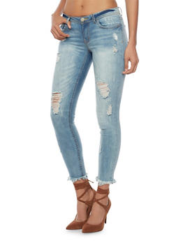 Cropped Distressed Skinny Jeans with Frayed Hems - 1074015996561