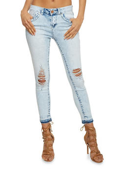 Almost Famous Distressed Acid Wash Jeans - 1074015996875