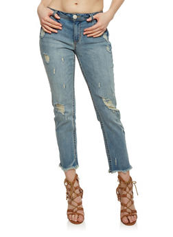 Almost Famous Distressed Skinny Jeans with Frayed Hem - 1074015997416