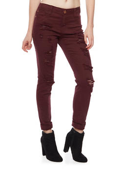 Almost Famous Ripped Skinny Jeans - BURGUNDY - 1074015998071