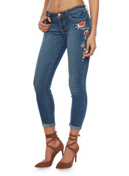 Almost Famous Skinny Jeans with Floral Embroidery - 1074015998161