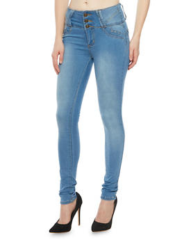 High Waisted Skinny Jeans with Push Up Pockets - 1074041759621