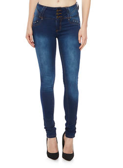 High Waisted Skinny Jeans with Push Up Pockets - DARK WASH - 1074041759621