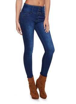 High Waisted Skinny Jeans with Push Up Back Pockets - 1074041759623