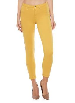 Ponte Skinny Leg Cuffed Jeggings - GOLD  HONEY - 1074056570150