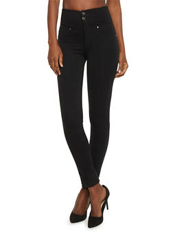 Double Button High Waisted Jeggings - 1074056570221