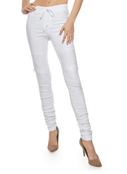 Ruched Leg Motto Joggers - WHITE - 1074056570245