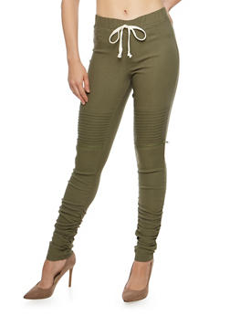 Ruched Leg Motto Joggers - DUSTY OLIVE - 1074056570245