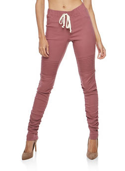 Ruched Leg Motto Joggers - 1074056570245