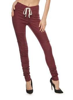Ruched Leg Motto Joggers - WINDSOR WINE - 1074056570245