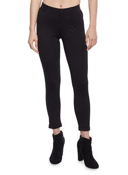 Cropped Cuffed One Button Jeggings - 1074056570251
