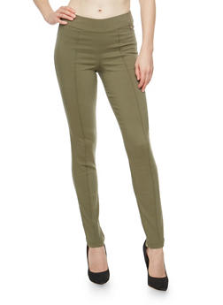 Pintuck Skinny Dress Pants - DUSTY OLIVE - 1074056570291