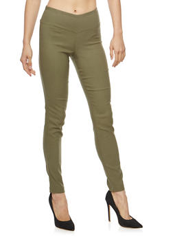Side Seam Solid Push Up Jeggings - DUSTY OLIVE - 1074056571811