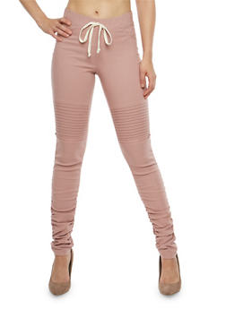 Zip Ruched Moto Jeggings - 1074056572240