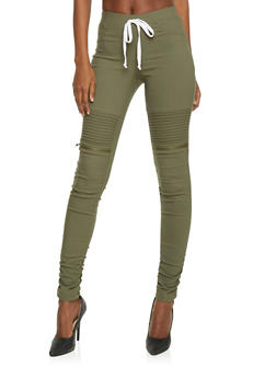 Faux Zipper Moto Pants with Drawstring Waist - OLIVE - 1074056572245