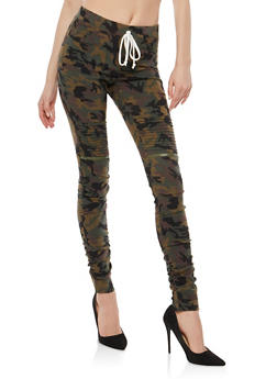 Camo Ruched Moto Jeggings - 1074056572246