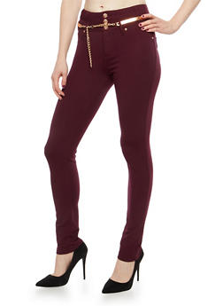 High Waisted Ponte Jeggings with Belt - 1074056572262