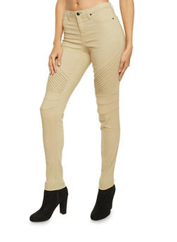 Skinny Pants with Moto Stitched Paneling - 1074056577019