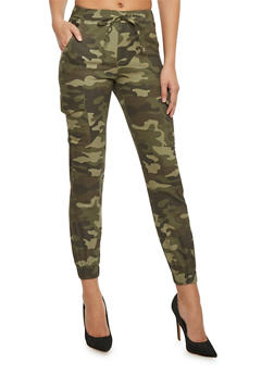 Camouflage Cargo Joggers with Drawstring - 1074062708086