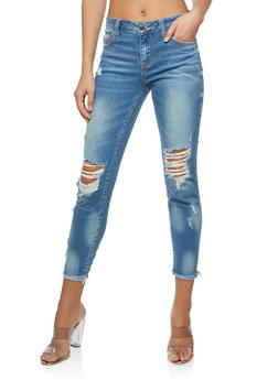Cello Destroyed Frayed Hem Jeans - 1074063150028