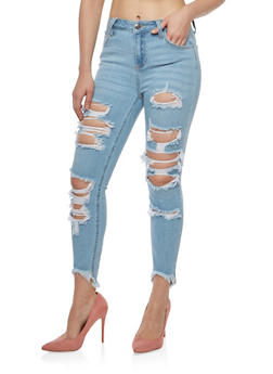 Cello Destroyed Raw Hem Skinny Jeans - 1074063150281