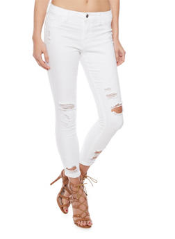 Cello Ripped White Denim Skinny Jeans - 1074063150422