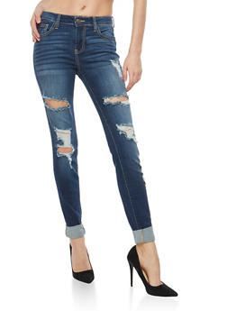 Cello Destroyed Whisker Wash Jeans - 1074063150952