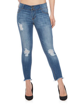Cello Cropped 2 Button Distressed Jeans - 1074063151455