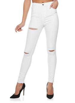 Cello Solid Ripped Skinny Jeans - WHITE - 1074063151488