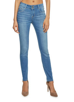 Cello Double Button Mid Rise Skinny Jeans - 1074063152395