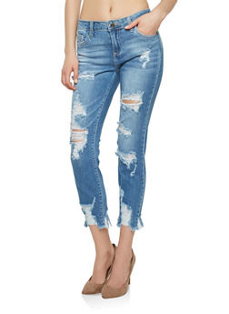 Cello Light Wash Destroyed Hem Skinny Jeans - 1074063154023