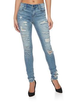Cello 5 Pocket Destroyed Skinny Jeans - 1074063154373