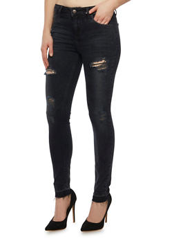 Cello Distressed Skinny Jeans with Unfinished Hems - 1074063154394